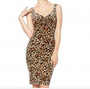 Vtg 90s Sexy Velvet Leopardess Dress M